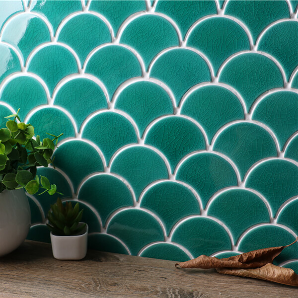 Home Improvement Turquoise Green Fan Shape Porcelain