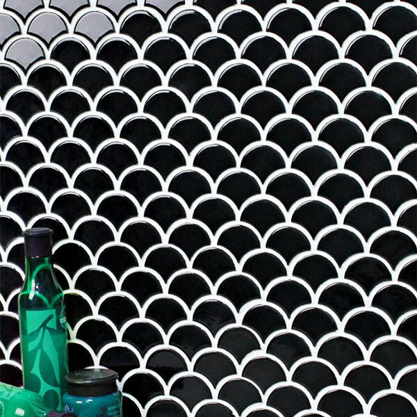 Black Fish Scale Ceramic Tile Porcelain Mosaic Tile For