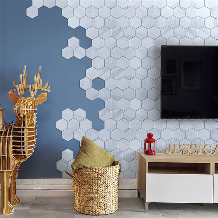 Living room TV backsplash diy matching hexagon porcelain tiles.jpg
