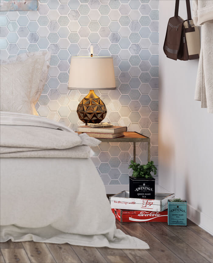 decorate your bedroom in light tone with mixed mosaic tile.jpg