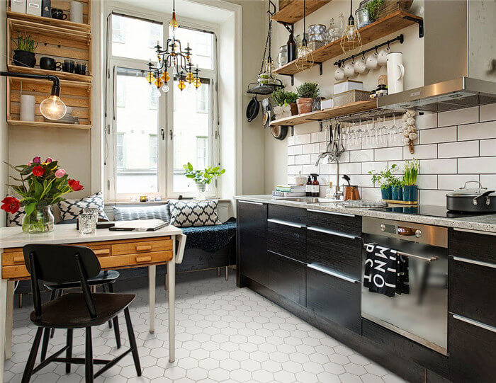 kitchen using matte white fish scale mosaic tile on floor.jpg