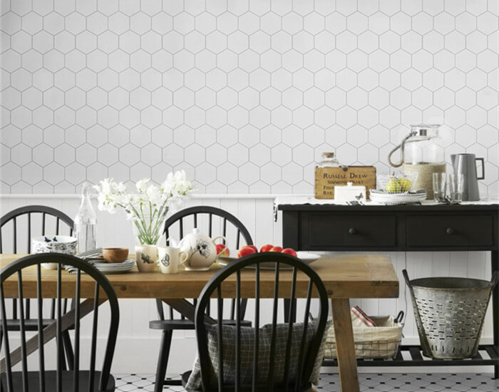 dinning area using medium size matte white hexagon mosaic tiles on wall.jpg