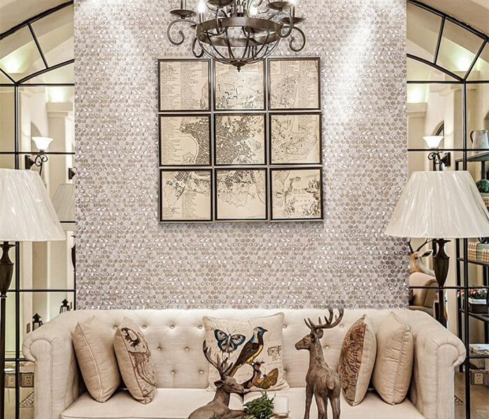 use silvery hexagon mosaic glass tile to decorate living room.jpg