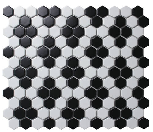 small hexagon black white mosaic floor tile for bathroom paving.jpg