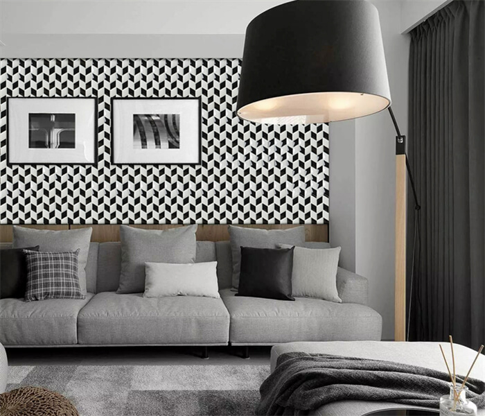living room using black white rhombus tile for wall decoration.jpg