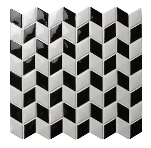 black white rhombus arrow shaped backsplash wall mosaic tile.jpg
