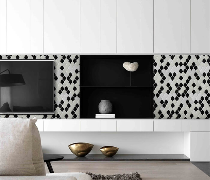 living room using fish scale ceramic mosaic for backsplash design.jpg