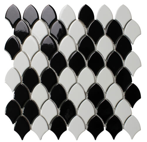 black white fish scale shaped mosaic tile for wall.jpg