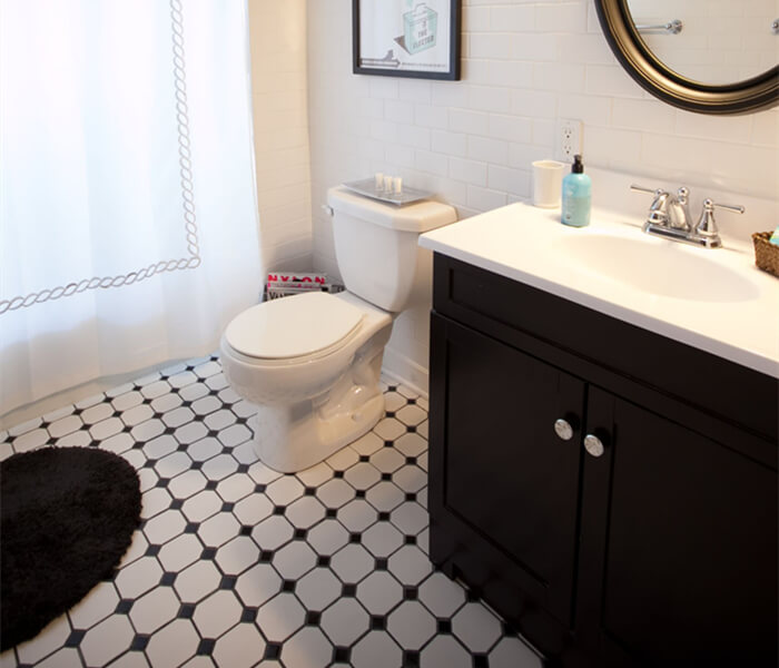 bathroom using octagon mosaic tile black white for floor paving.jpg