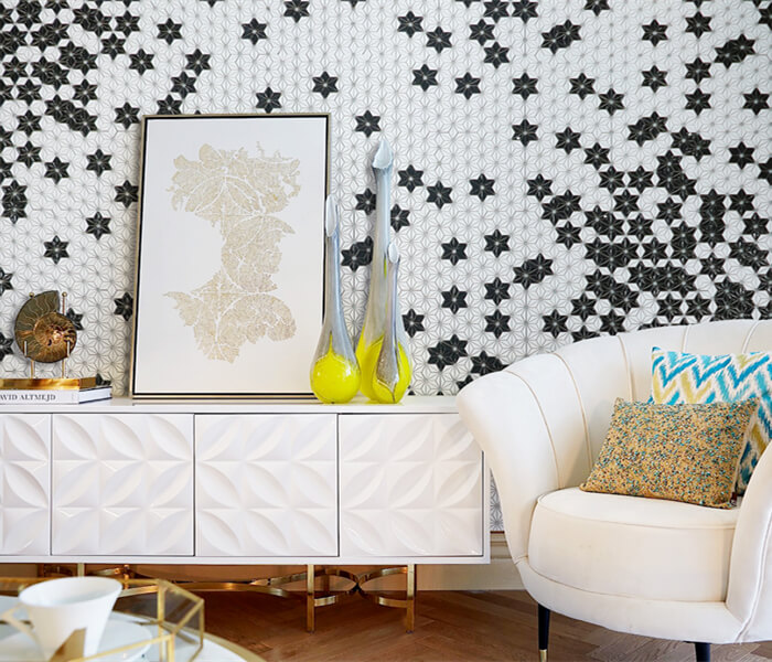 living room adding black white element with star pattern mosaic tile picture .jpg