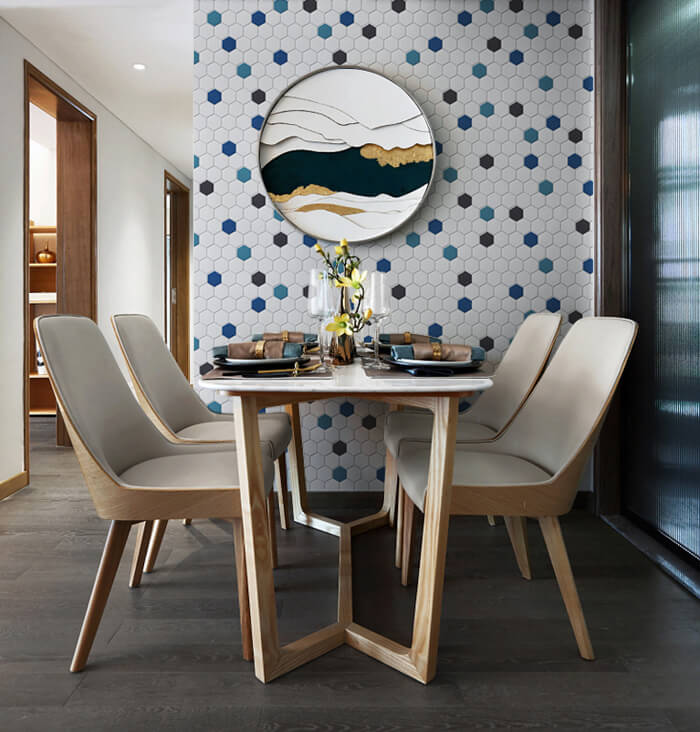 hexagon mosaic tile wall for dinning space.jpg