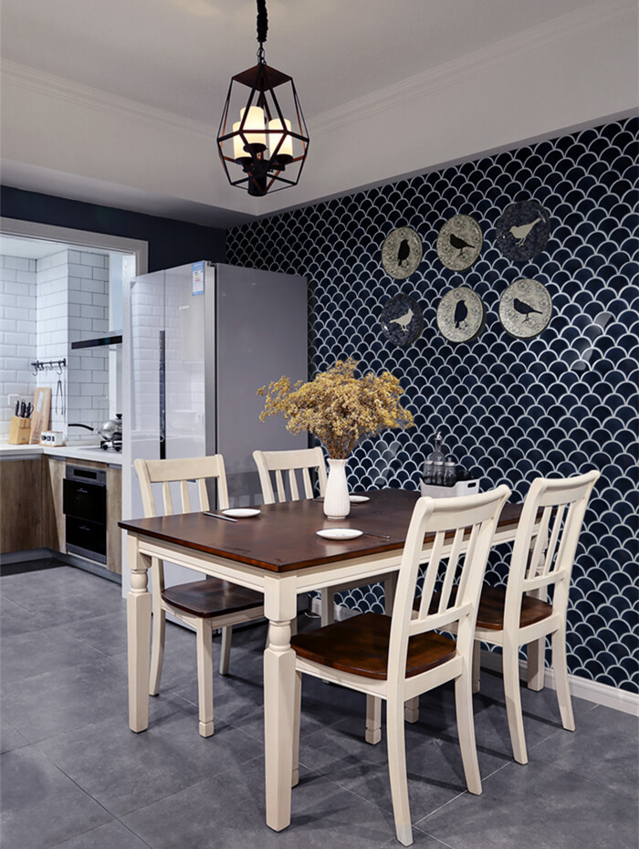 royal style dinning room with dark blue fish scale tile decorated.jpg