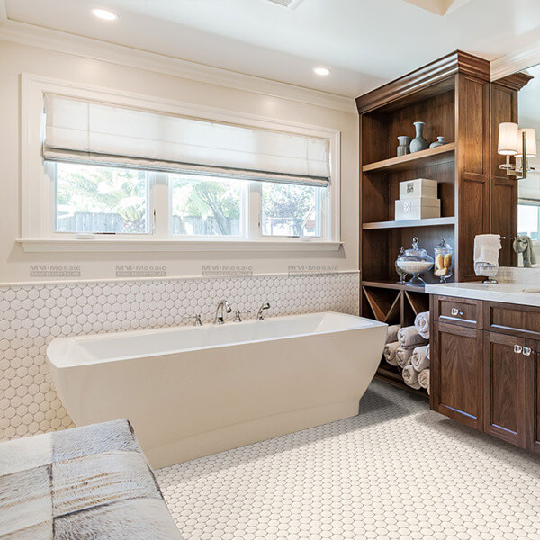 beautiful white porcelain mosaic used in bathroom