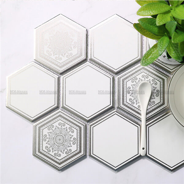 silver and white hexagon metallic print mosaic