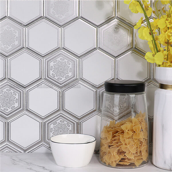 Super Hexagon Matt Metallic Print Porcelain Mosaic