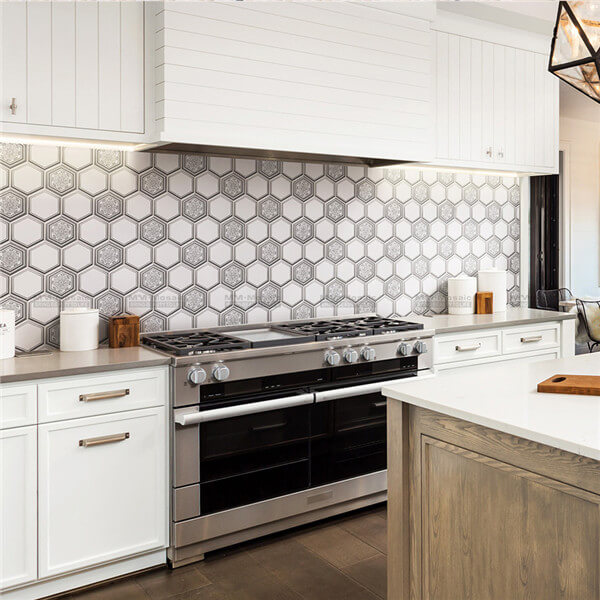 super hexagon mosaic used as kitchen backsplash
