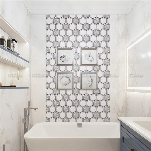 hexagon metallic print mosaic used in bathroom wall