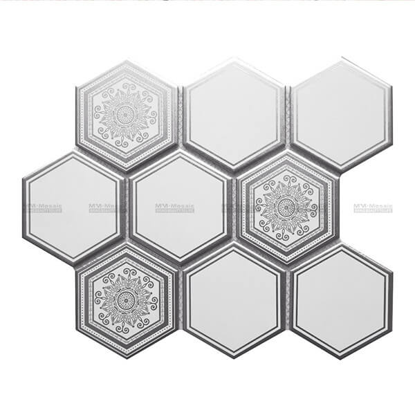 Matt Metallic print porcelain mosaic Super Hexagon White CZO931D