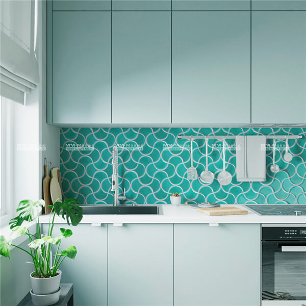 Crackle fish scale porcelain mosaic in wave pattern green CZB719X