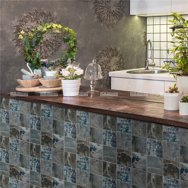 the industrial tiles in front of the kitchen counter