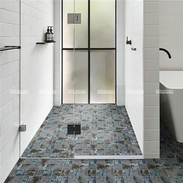 CKO005JN digital print tiles are used as bathroom flooring
