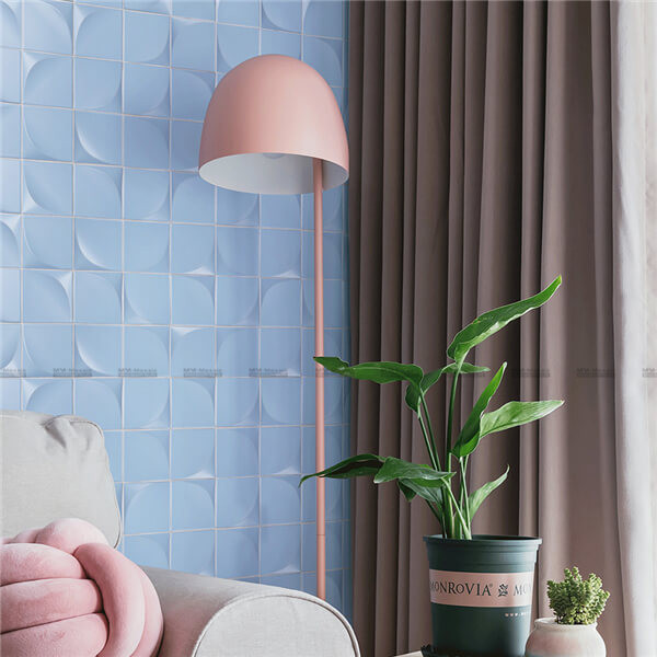 sky blue mosaic used as living room wall tiles