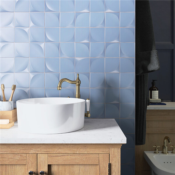 with cozy sky blue hues, this bathroom tiles create a peaceful ambiance