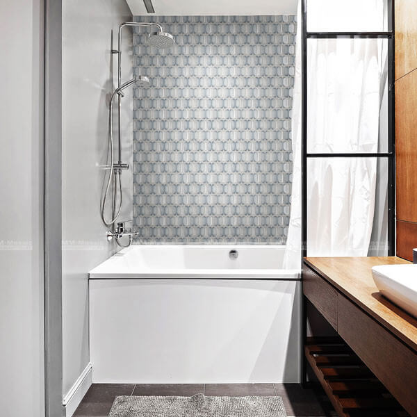 the cool tone shower tile