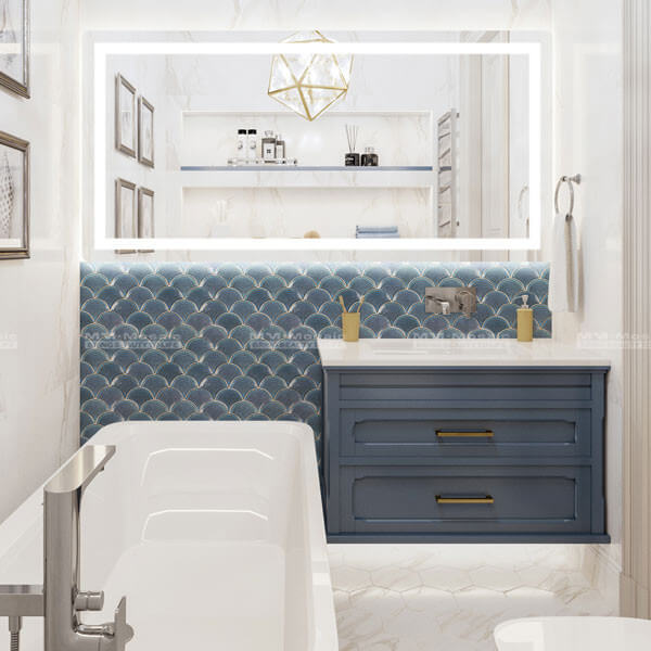 Fish-scale Porcelain Mosaic used in bathroom