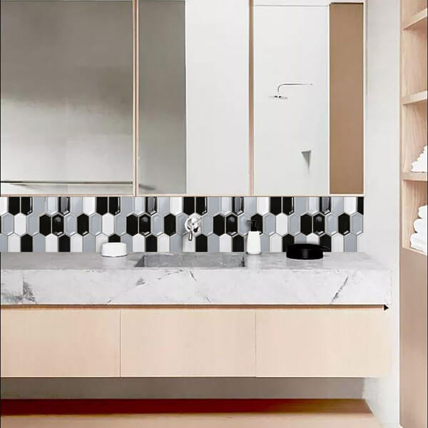 the ultra-minimalist bathroom with premium mosaic  tiles