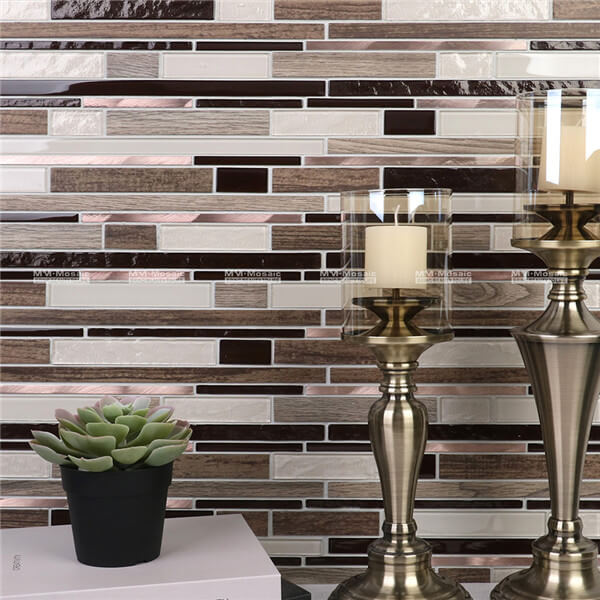 exquisite glass mix stainless steel mosaic tile