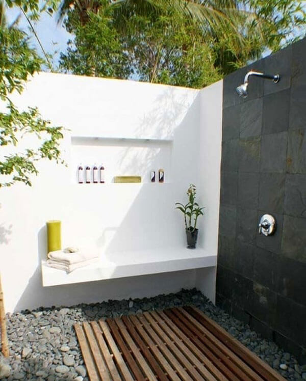 the popular black and white outdoor shower