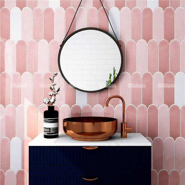pink mix white feather mosaic