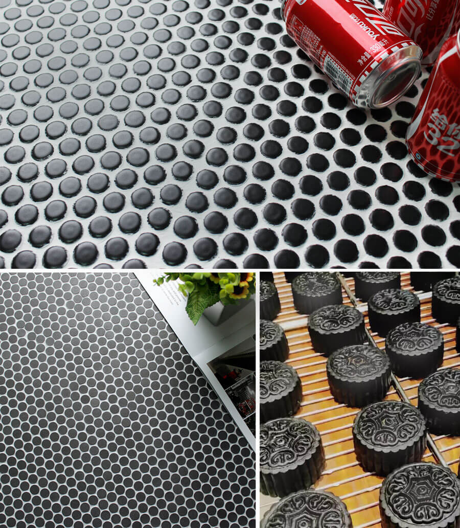black penny round mosaic tile