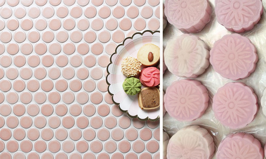 pink penny round tiles