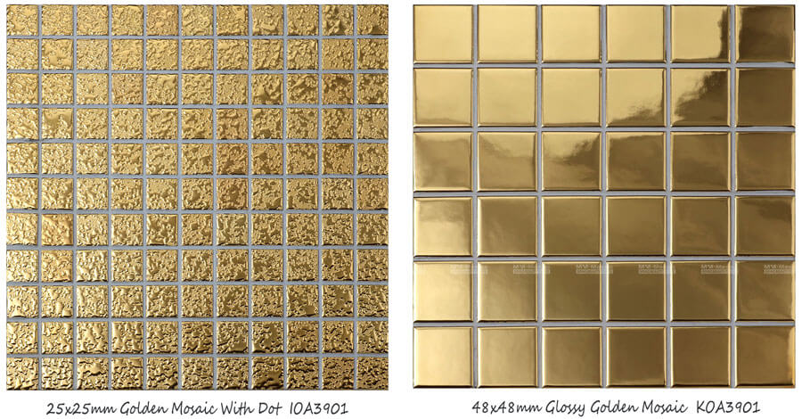 wholesale stock factory price square gold mosaic tile