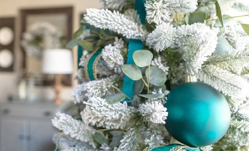 teal christmas tree decor