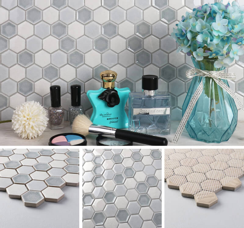 Ice Crackle Mix Glossy Hexagon Mosaic Tile ZBC6001
