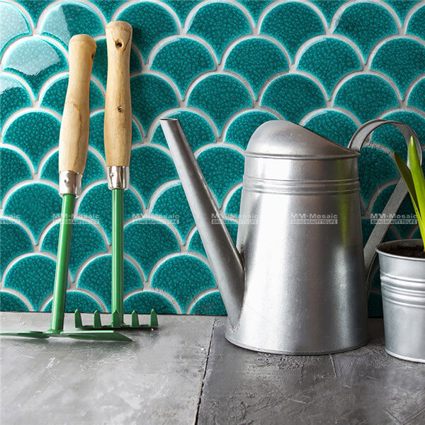 Green Heavy Crackle Fish Scale Porcelain Mosaic In Wave Pattern