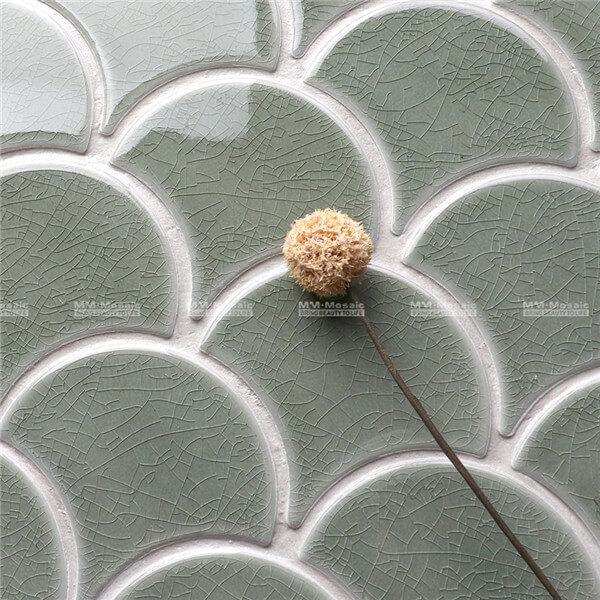 ZOB2702 Ice Crackle Fish Scale Porcelain Mosaic In Wave Pattern