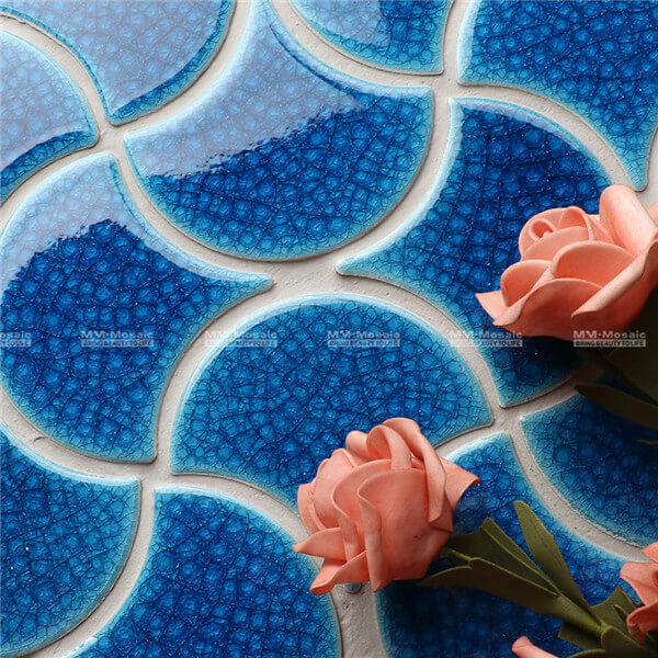 ZOB2603-B Heavy Crackle Fish Scale Porcelain Mosaic In Wave Pattern