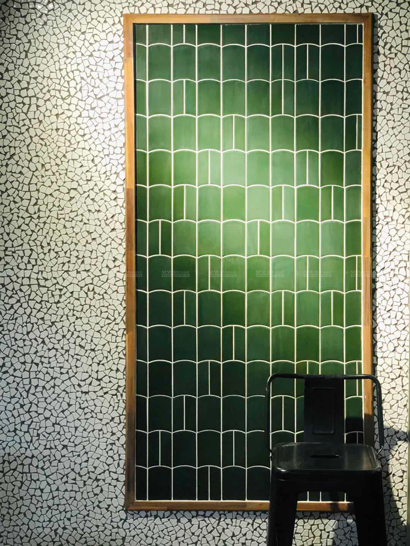 tile design on feature wall