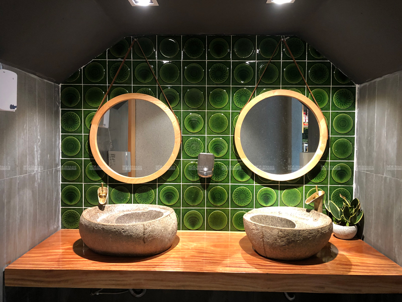 green bathroom wall tiles