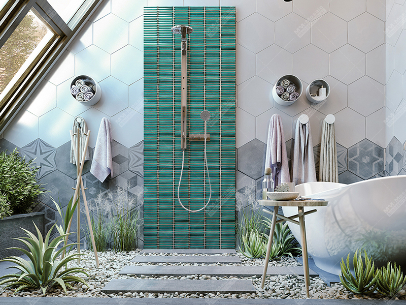 outdoor shower design with kit kat wall tile