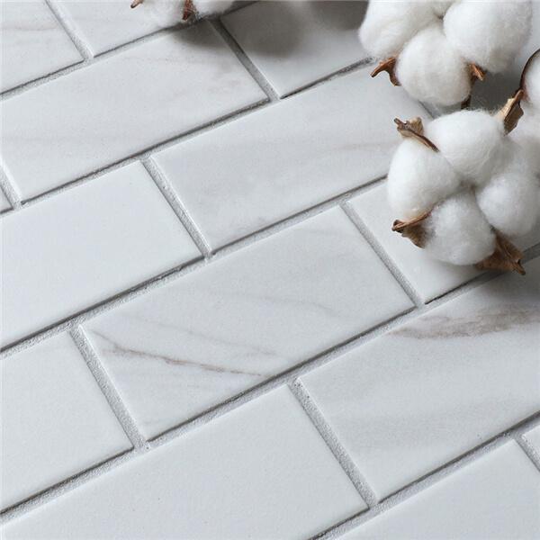 2 Quot X4 Quot Carrara Porcelain Mosaic Tile That Looks Like Marble