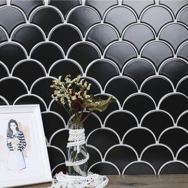 Wholesale Black Fish Scale Tile Ceramic Fan Shaped Mosaic