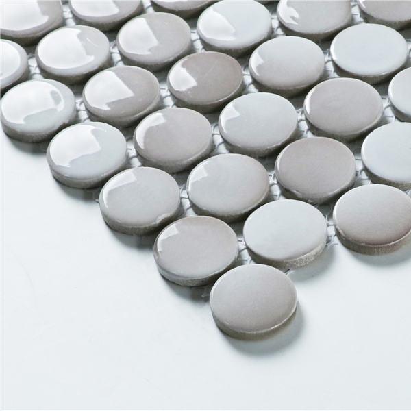 Wholesale 28mm Penny Round Porcelain Tile Beige Mosaic