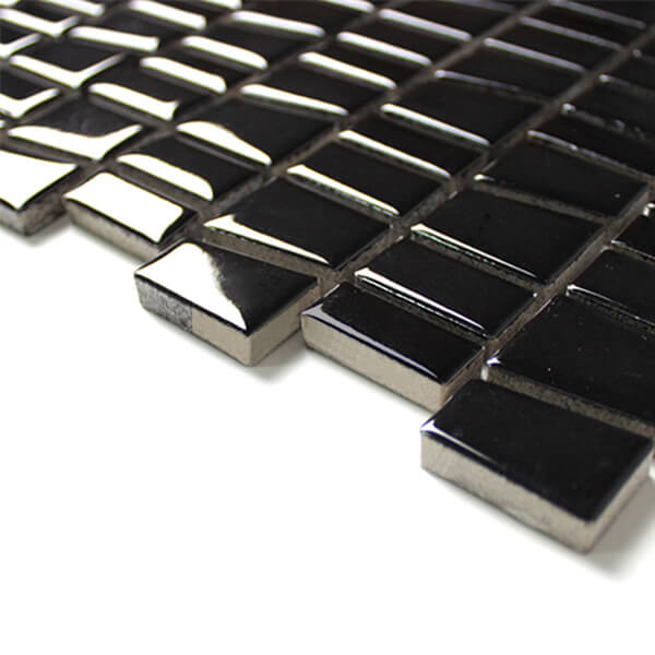 Glossy Black Tropezoid Ceramic Mosaic Irregular Tile